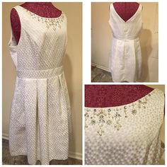 Jessica Howard Size ~ 14 Shell ~ 93% polyester, 4% nylon, 3% metallic  Lining ~ 100% polyester  Shoulders ~ 17 Arm ~ sleeveless  Chest ~ 20 Waist ~ 17 Hips ~ 28 Length ~ 39 Hidden back zipper  Hook & eye White Beads Metallic $25 #Colleens_Collections_14 #colleens_collections_available