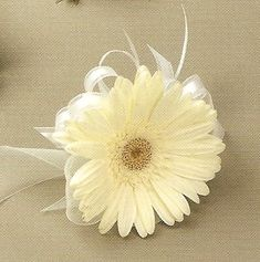 I like this minimalist gerbera corsage. Pink gerbera with orange organza ribbon for the two mothers, and orange gerbera with pink ribbon for Karen's godmother. But wrist corsages, not pin-on Daisy Bouquet Wedding, Corsage Wedding, Bride Bouquets, Floral Wedding, Prom Flowers, Wedding Flowers, Wrist Flowers, Pink Gerbera, Gerber Daisies
