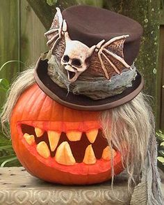 Goth pumpkin. I want that hat!