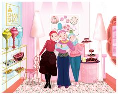 The Shanshal Girls by Leila Charafeddine  #illustration #digital #art #cartoon #drawing #sketch #girls #veiled #chocolate #shop #cute #pink #sisters #shanshal #tiles