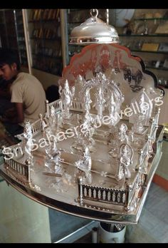 Mandir Decoration, Silver Pooja Items, Pooja Room Door Design, Silver Lamp, Wedding Saree Blouse Designs, Gold Shower, Puja Room, Gold Earrings Designs, Silver Gifts