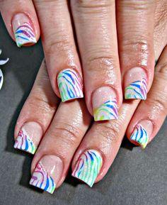 Rainbow zebra acrylic nails