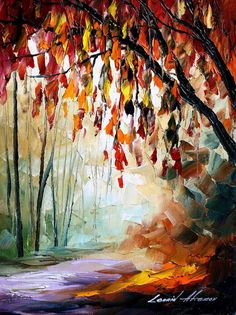 Bronze Autumn PALETTE KNIFE Landscape Modern by AfremovArtStudio