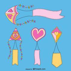 Lovely Kites Pack Free Vector