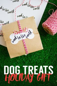 Doggy-treat gift wrapping for your four-legged (or two-legged as a gag-gift) friend!