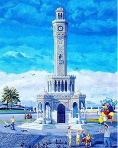 """Hergün yeni bir mekan ve tarihi bilgi. """"Son derece zarif görünümüyle, Konak meydanını bir inci gibi süsleyen Saat Kulesi, denize nazır konumuyla büyüleyici bir sanat eseridir. 20. yüzyılın başlangıcından bu yana Konak Meydanını süsleyen İzmir'in simgesi tarihi Saat Kulesi, II. Abdülhamid'in tahta çıkışının 25. yılı kutlamaları münasebetiyle 1901 yılında yaptırılmıştır. Osmanlı mimarisiyle donatılan kule 25 metre  yüksekliğindedir ve dairesel zemin etrafında 4 çeşmesi bulunmaktadır. Kulenin…"""