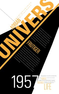 """I love this poster because of the black, white and gold color palette. it is very """"hollywood"""" to me. and the typeface being UNIVERS, reminds me of the Univseral Studios and their, grand, giant statement. The text hierarchy works well for this. Typo Poster, Poster Fonts, Typographic Poster, Poster Layout, Web Design, Typo Design, Graphic Design Typography, Layout Design, Typography Inspiration"""