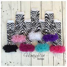 Zebra Print - Black and White - leg warmers with chiffon ruffles, legwarmers, stockings, animal print leggings, baby girl infant toddler by HoneyLoveBoutique