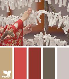 Color Combos: Tie Tones - tan, melon, cranberry, brown, grey.