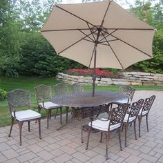 Oakland Living Mississippi Oval Dining Set with Cushions and Umbrella