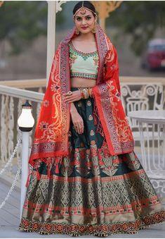 Teal Green Banarasi Silk Lehenga Choli