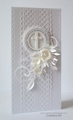 Spellbinders Shapeabilities - Laced with Love Lovin' Diamonds Confirmation Cards, Baptism Cards, First Communion Cards, Christian Cards, Communion Invitations, Scrapbooking, Get Well Cards, Custom Cards, Sympathy Cards