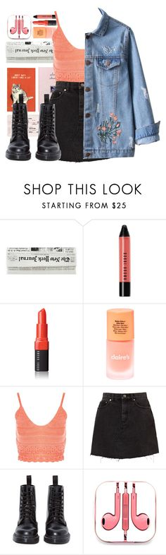 """""""Coral crush"""" by irishills ❤ liked on Polyvore featuring Bobbi Brown Cosmetics, claire's, Nobody's Child, Dr. Martens, PhunkeeTree, coral, jeanskirt, Jeanjacket and docmartens"""