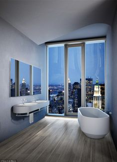 Fashionable New York Penthouse Inspiration Come With White Sinks And Mirror On Gray Wall Plus White Bathtub Together With Glass Windows Also Gray Ceiling Plus Brown Wooden Floor Tile Also City View. Luxury New York Penthouse Inspiration New York Penthouse, Luxury Penthouse, Luxury Apartments, New York Apartment Luxury, Luxury Homes, Design Furniture, Luxury Furniture, Cool Furniture, Furniture Stores