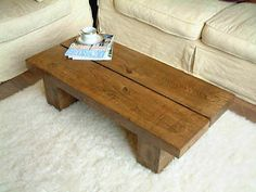 LONG SOLID LOW DARK OAK PINE WOOD COFFEE TABLE CHUNKY RUSTIC PLANK MODERN BEAM | eBay