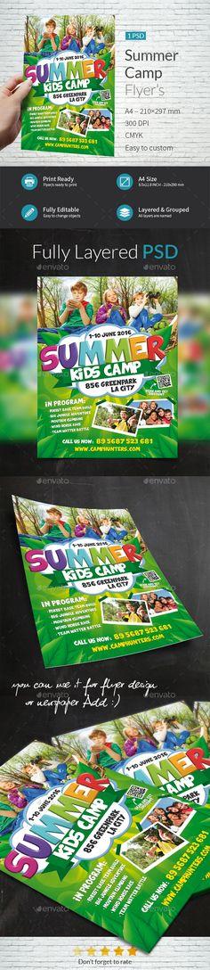 Summer Camp Flyer Template PSD. Download here: http://graphicriver.net/item/summer-camp-flyer-template/15500546?ref=ksioks