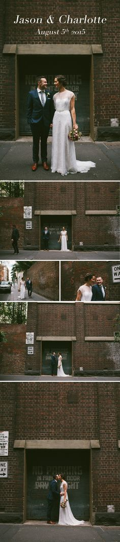 Quirky urban wedding photography. Sometimes all you need is a really good brown brick wall. Jason & Charlotte got hitched in Melbourne\'s treasury building and opted to getting some modern and gritty wedding photos in the alleyways off Little Collins St / Gold and Grit Photography