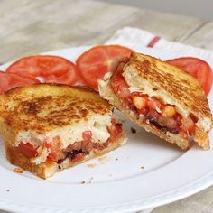 Garlic-Rubbed Grilled Cheese w/ Bacon and Tomatoes. also check out the hamburgers with balsamic onion jam on this website!