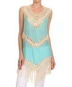 Look what I found on #zulily! Teal & Beige Fringe Tunic - Plus Too #zulilyfinds