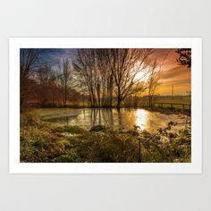 Sunset pond Art Print by Jordygraph - $15.60