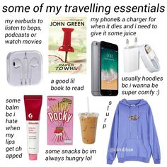 travel essentials hows your summer been so far - one of you recommended paper towns are so far its prettu good :) ty - Trendy Trend Beauty Fashion Travel Packing Checklist, Road Trip Packing, Road Trip Hacks, Travelling Tips, Road Trip Checklist, Packing Lists, Traveling, Road Trips, Road Trip Meme