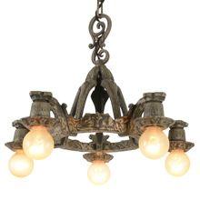 Rustic Revival-Style 5-Light Chandelier, C1930