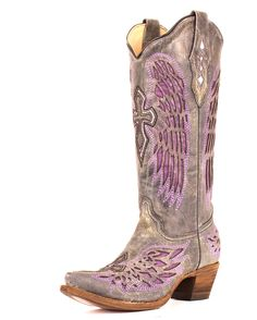 Country Outfitter:  Corral Women's Distressed Black Winged Cross Purple Inlay Boot - kinda like these too but not as much as the other purple ones