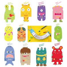 During my usual daily pinterest hunt, I came across these! Monster themed monthly hangable calendars but I think they would work brilliantly as simple 'hanging birthday displays'. What about gluing...