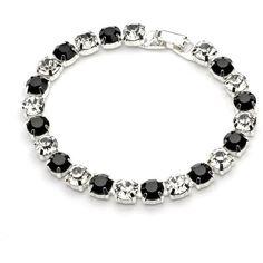 black formal bracelet, elegant crystal bracelet, black bridal... ($27) ❤ liked on Polyvore