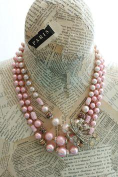 Pink Necklace Vintage Jewelry Teacher Gift Multi by belmonili, $28.00