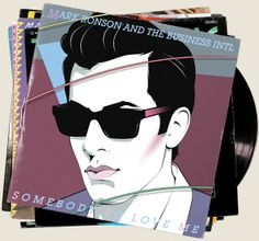 "2010 Mark Ronson & The Business Intl - Somebody Love Me from ""Record Collection"" (7x7"") [Columbia 88697780997] illustration by Jasper Goodall #albumcover"