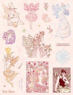 Fairy Fantasy Art Rubber Stamps fairies faery Birthday Halloween and Art Nouveau theme