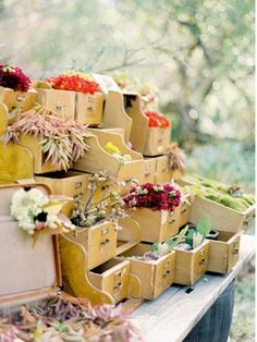 repurposed card catalog flower centerpiece  Spotted on blog: Poetic Home