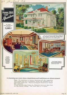 """""""The Alhambra"""" Honor Bilt Modern Homes by Sears. From their prebuilt """"kit"""" homes catalog, 1925 Vintage Interiors, Vintage Home Decor, Vintage Homes, Sears Catalog Homes, Tiny House Village, Cottages And Bungalows, 1920s House, Home Design Floor Plans, Vintage House Plans"""