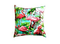 "Pink Flamingo Cushion Cover 14"" 35cm Decorative Cotton Pillow Case Teal Aqua Pink Green Tropical Bright Bold Summer Retro Print Gift Ideas by MayBrady on Etsy https://www.etsy.com/listing/210344463/pink-flamingo-cushion-cover-14-35cm"