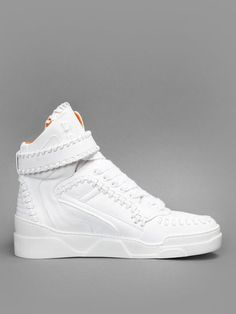 Givenchy woven high top sneakers with a velcro strap on a rubber sole #givenchy