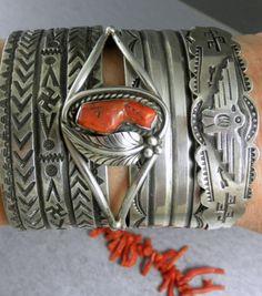 Old Pawn ALL Natural Coral Prayer Feather Navajo Cuff Bracelet Tribal Jewelry, Turquoise Jewelry, Boho Jewelry, Jewelry Crafts, Jewelery, Silver Jewelry, American Indian Jewelry, American Indian Art, Silver Bracelets