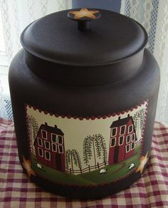 Buy Primitive Country Decor Hand Painted Saltbox House and Sheep Farm Cookie Jar/Centerpiece Glass Gallon Anchor Hocking Primitive Kitchen, Primitive Crafts, Country Primitive, Country Decor, Rustic Decor, Country Living, Farm Cookies, Saltbox Houses, Country Sampler