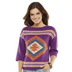 Chaps Southwestern Linen Blend Sweater - Petite