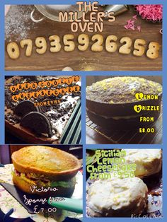 A selection of homemade cakes available for home delivery service - freshly baked within 4 hours of being delivered....baked an presented by THE MILLER'S OVEN...