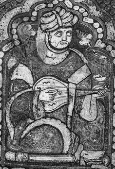 "Famtima period (c 1140 a.d.) Oud or lute player ,Palatine Chapel. Sound holes like those on Cantigas de Santa Maria, showing both drilled dots as well as ""3"" or ""m"" shaped. The m shaped squiggles are reminiscent of Ganharan and Chiniese/Japanese pipa/biwa."