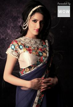 Stylish embroidered saree - Collection by Rajesh Sarees