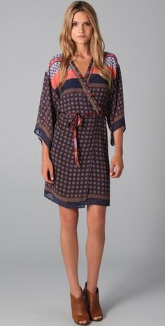 Clover Canyon- Kimono Wrap Dress ...w/tights and my leopard booties!! Love this!
