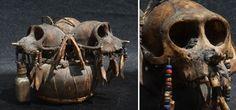 Musealer Ritualgegenstand Dayak Affenschädel Skull