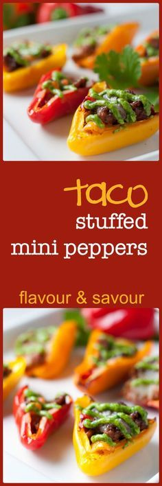 These Taco Stuffed Mini Peppers make an ideal appetizer or a healthy kid-sized snack. Perfect for holiday parties.