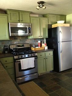 1000 images about kitchen greens and grays on pinterest for Brushed sage kitchen cabinets