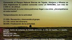 """13 de septiembre, actividad del Centro de visitantes Sedella. Subida al pico más alto del Parque Natural Sierras de Tejeda, Almijara y Alhama, Málaga. La dificultad de esta actividad está señalada como """"Alta"""". Si deseas saber más puedes informarte en: cvsedella@uniges3.net Teléfonos: 957 162 300 / 952 508 523"""
