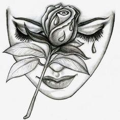 face mask on Mercari Chicano Art Tattoos, Chicano Drawings, Dark Art Drawings, Art Drawings Sketches Simple, Pencil Art Drawings, Cool Drawings, Body Art Tattoos, Rose Drawing Tattoo, Tattoo Drawings