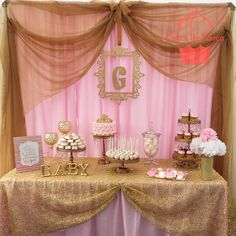 Dessert table at a pink and gold baby shower  party! See more party planning ideas at CatchMyParty.com!
