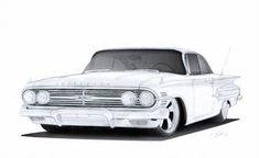 1960 Chevrolet Impala Pro-Touring Drawing by Vertualissimo – En Güncel Araba Resimleri 1957 Chevrolet, Chevrolet Impala, Hot Rod Trucks, Cool Trucks, Chevy Trucks, Car Design Sketch, Car Sketch, Cadillac, Cars Coloring Pages